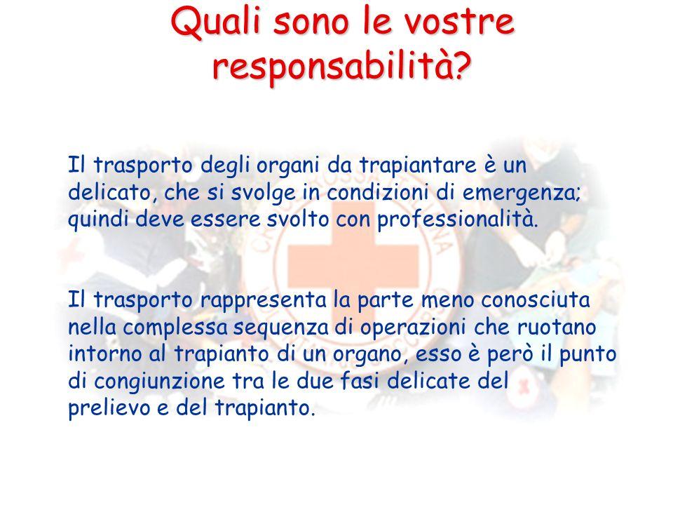 Quali sono le vostre responsabilità? Il trasporto degli organi da trapiantare è un delicato, che si svolge in condizioni di emergenza; quindi deve ess