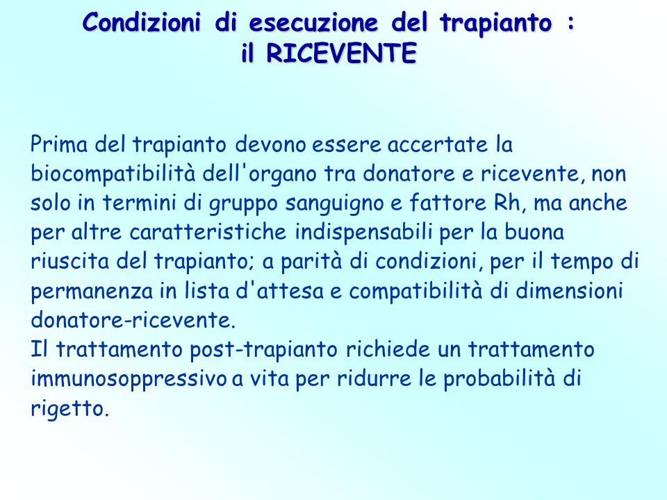 Prima del trapianto devono essere accertate la biocompatibilità dell'organo tra donatore e ricevente, non solo in termini di gruppo sanguigno e fattor