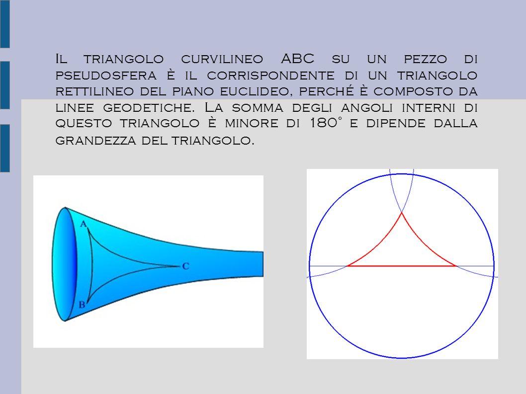 Il triangolo curvilineo ABC su un pezzo di pseudosfera è il corrispondente di un triangolo rettilineo del piano euclideo, perché è composto da linee g