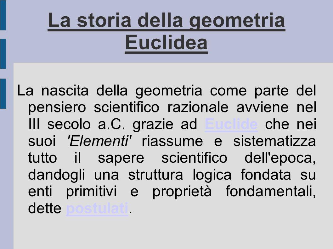 La storia della geometria Euclidea La nascita della geometria come parte del pensiero scientifico razionale avviene nel III secolo a.C. grazie ad Eucl