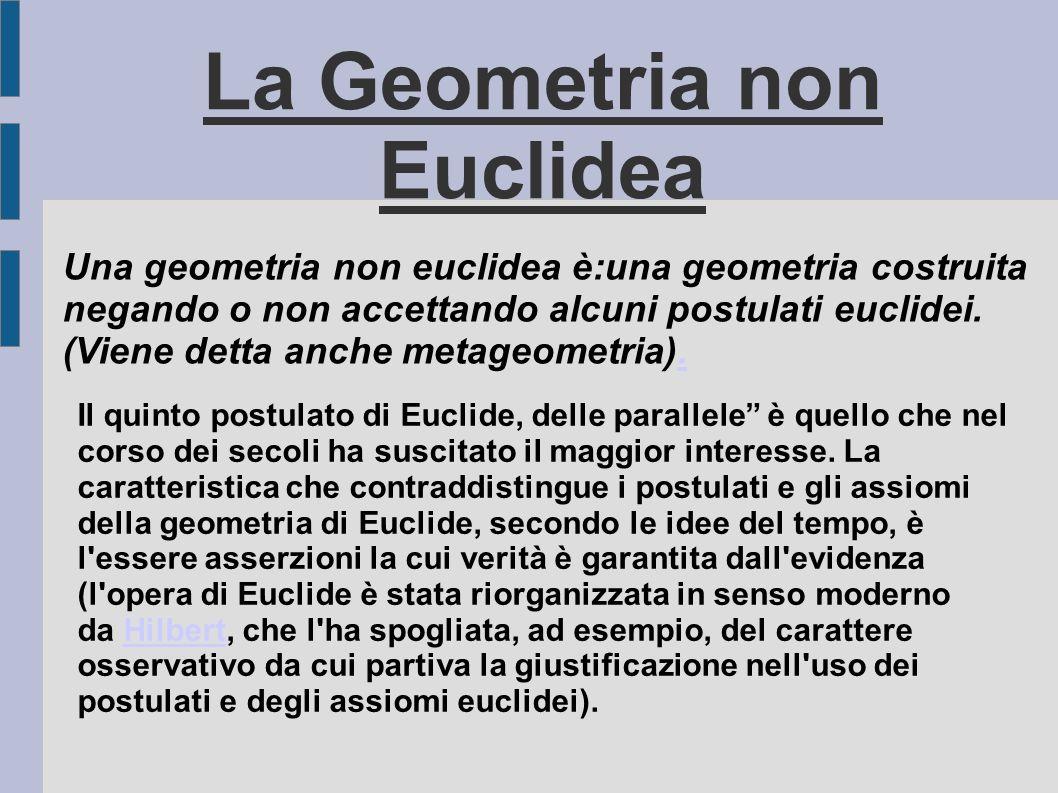 Una geometria non euclidea è:una geometria costruita negando o non accettando alcuni postulati euclidei. (Viene detta anche metageometria).. La Geomet