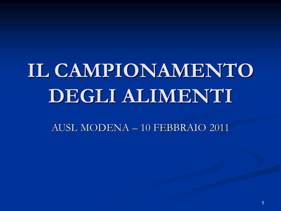 1 IL CAMPIONAMENTO DEGLI ALIMENTI AUSL MODENA – 10 FEBBRAIO 2011