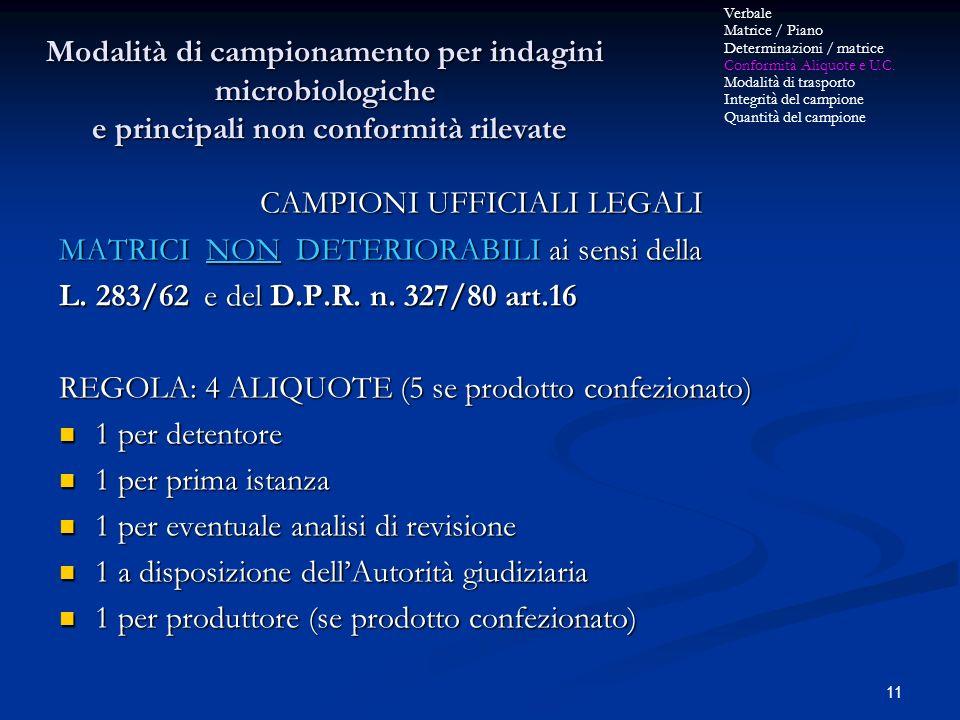 11 CAMPIONI UFFICIALI LEGALI MATRICI NON DETERIORABILI ai sensi della L. 283/62 e del D.P.R. n. 327/80 art.16 REGOLA: 4 ALIQUOTE (5 se prodotto confez