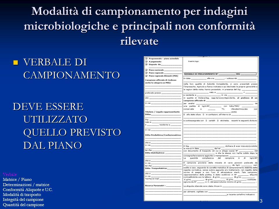3 Modalità di campionamento per indagini microbiologiche e principali non conformità rilevate VERBALE DI CAMPIONAMENTO VERBALE DI CAMPIONAMENTO DEVE E