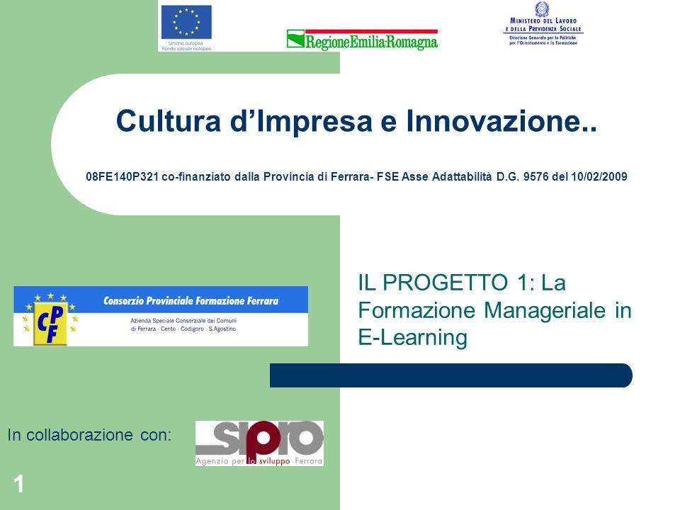 1 Cultura dImpresa e Innovazione.. 08FE140P321 co-finanziato dalla Provincia di Ferrara- FSE Asse Adattabilità D.G. 9576 del 10/02/2009 IL PROGETTO 1: