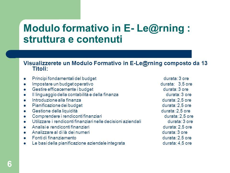 7 Modulo formativo in E- Le@rning : struttura e contenuti..2 Potrete seguire lordine di fruizione dei Titoli come riterrete più utile per voi e a seconda delle competenze già in vostro possesso.
