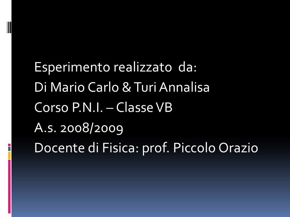Esperimento realizzato da: Di Mario Carlo & Turi Annalisa Corso P.N.I. – Classe VB A.s. 2008/2009 Docente di Fisica: prof. Piccolo Orazio