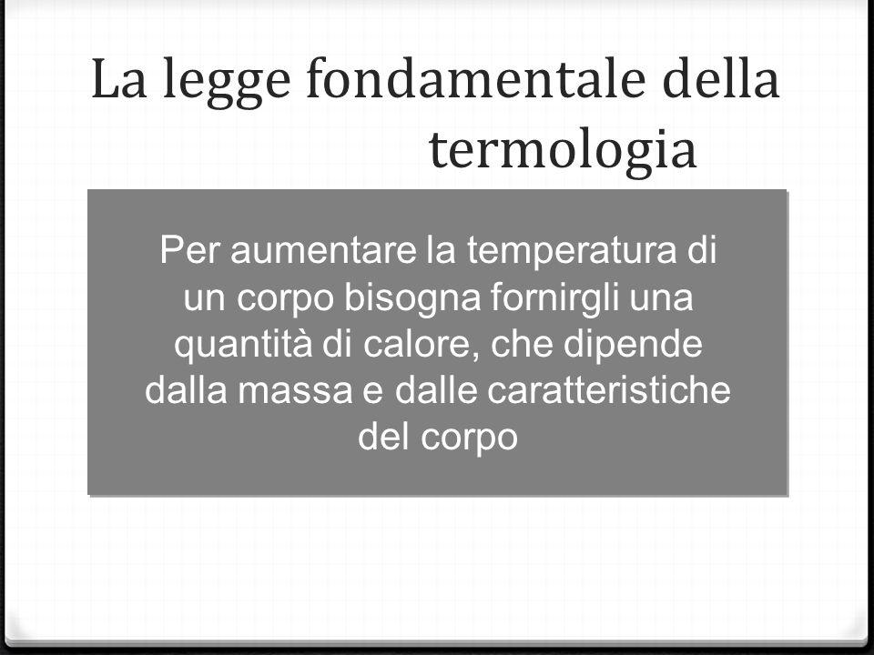 Per aumentare la temperatura di un corpo bisogna fornirgli una quantità di calore, che dipende dalla massa e dalle caratteristiche del corpo La legge