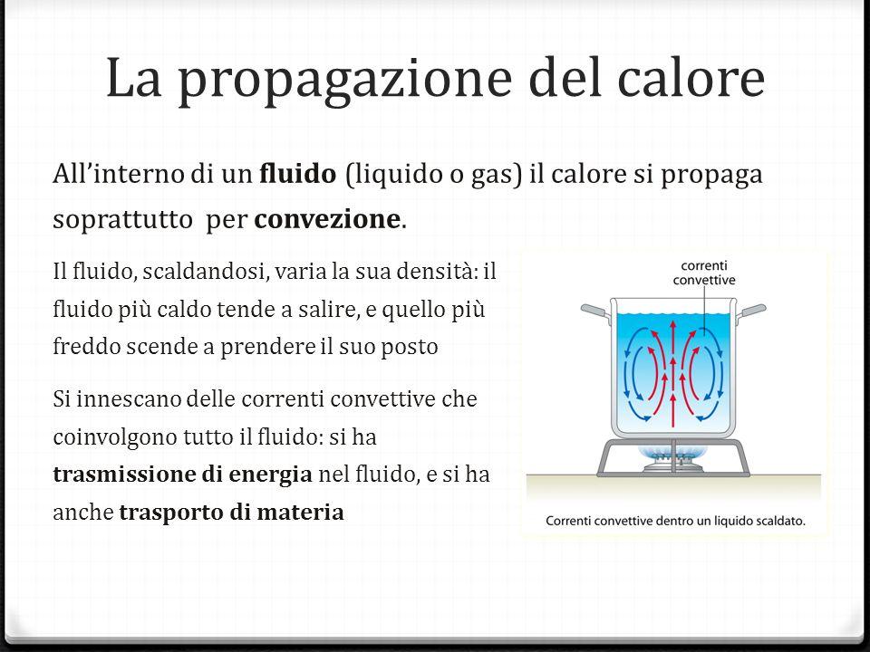 La propagazione del calore Allinterno di un fluido (liquido o gas) il calore si propaga soprattutto per convezione. Il fluido, scaldandosi, varia la s