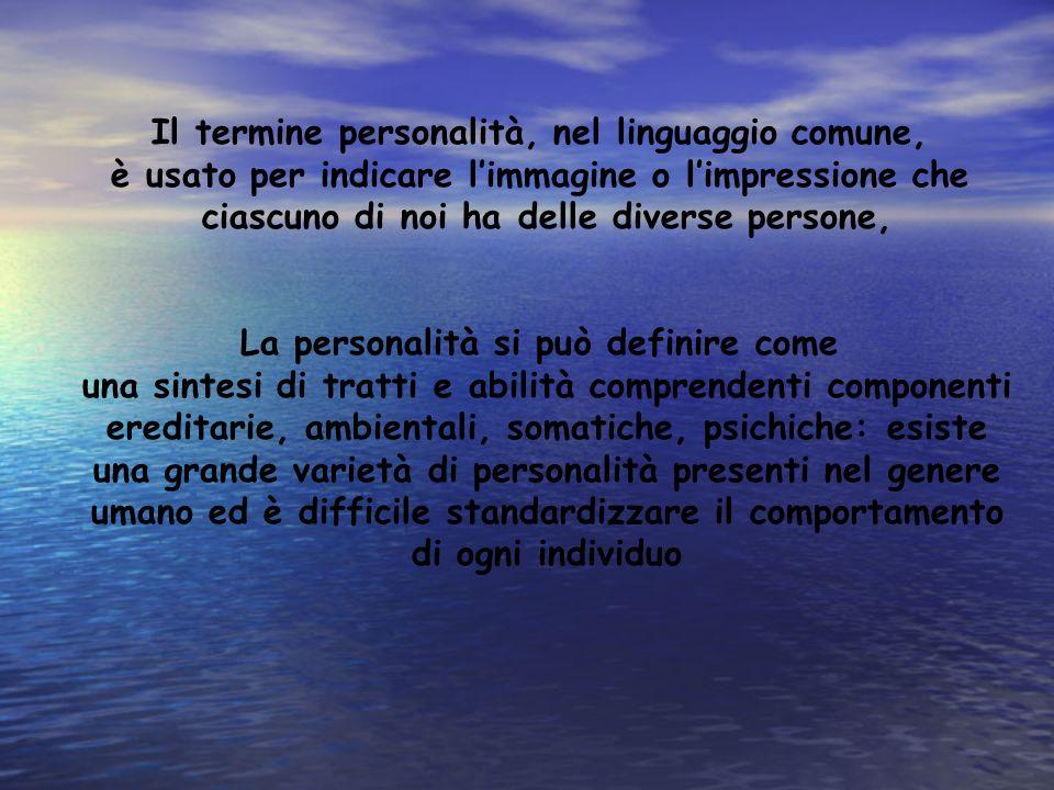 Il termine personalità, nel linguaggio comune, è usato per indicare limmagine o limpressione che ciascuno di noi ha delle diverse persone, La personal