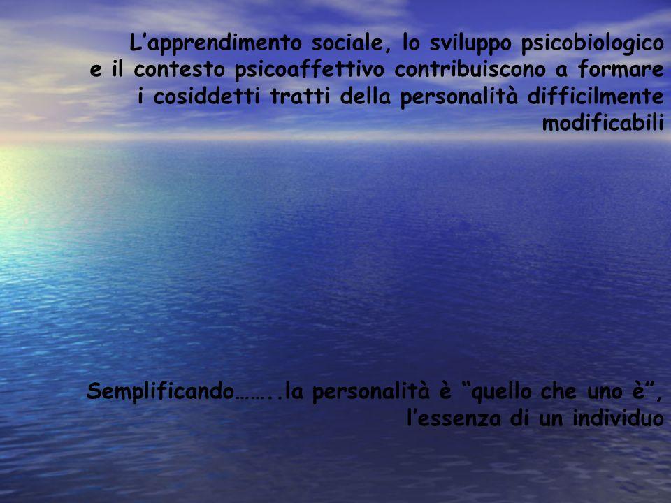 Lapprendimento sociale, lo sviluppo psicobiologico e il contesto psicoaffettivo contribuiscono a formare i cosiddetti tratti della personalità diffici