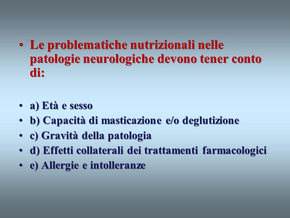 Le problematiche nutrizionali nelle patologie neurologiche devono tener conto di:Le problematiche nutrizionali nelle patologie neurologiche devono ten
