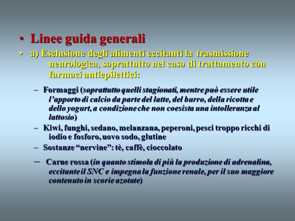 Linee guida generaliLinee guida generali a) Esclusione degli alimenti eccitanti la trasmissione neurologica, soprattutto nel caso di trattamento con f