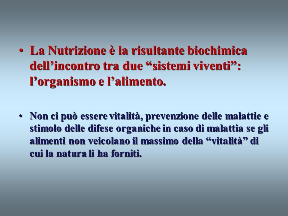 La Nutrizione è la risultante biochimica dellincontro tra due sistemi viventi: lorganismo e lalimento.La Nutrizione è la risultante biochimica dellinc