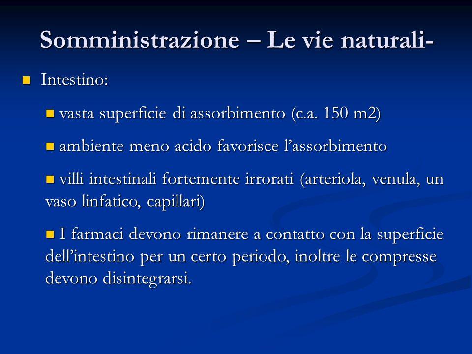 Somministrazione – Le vie naturali- Intestino: Intestino: vasta superficie di assorbimento (c.a. 150 m2) vasta superficie di assorbimento (c.a. 150 m2