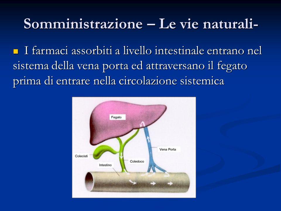 I farmaci assorbiti a livello intestinale entrano nel sistema della vena porta ed attraversano il fegato prima di entrare nella circolazione sistemica