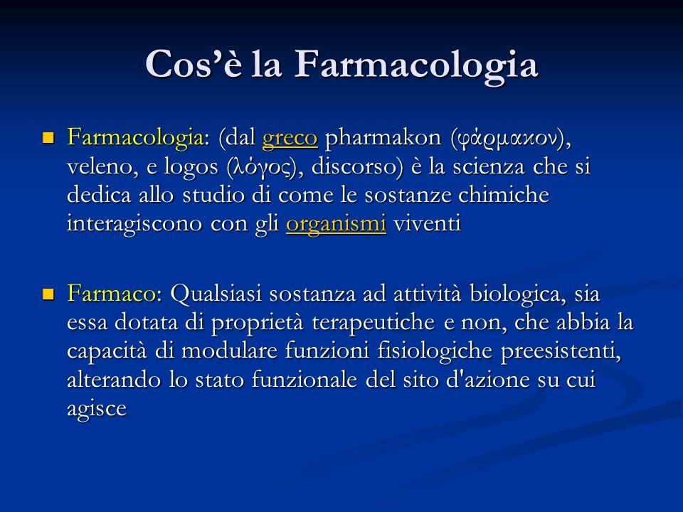 Cosè la Farmacologia Farmacologia: (dal greco pharmakon (φάρμακον), veleno, e logos (λόγος), discorso) è la scienza che si dedica allo studio di come