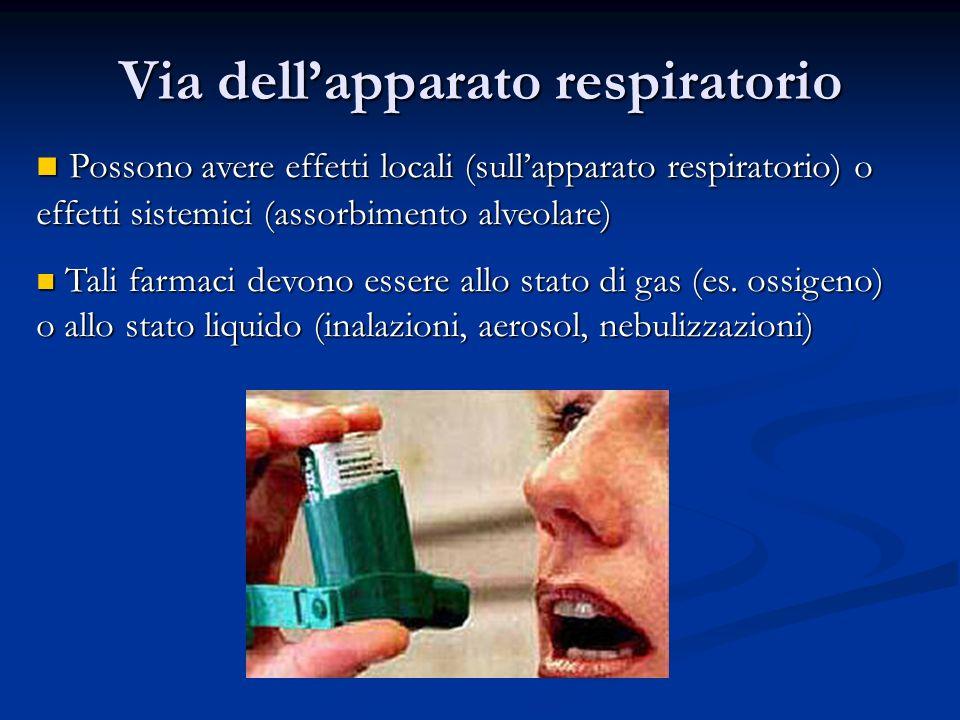 Possono avere effetti locali (sullapparato respiratorio) o effetti sistemici (assorbimento alveolare) Possono avere effetti locali (sullapparato respi