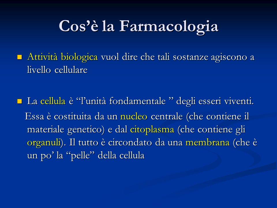 Cosè la Farmacologia Attività biologica vuol dire che tali sostanze agiscono a livello cellulare Attività biologica vuol dire che tali sostanze agisco