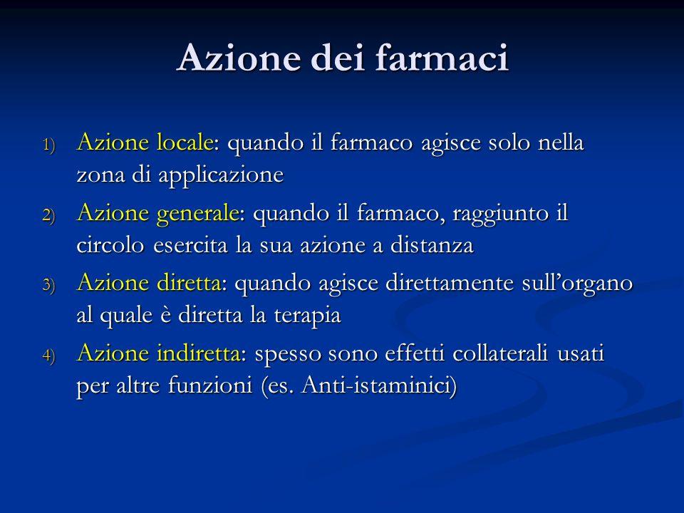 Azione dei farmaci 1) Azione locale: quando il farmaco agisce solo nella zona di applicazione 2) Azione generale: quando il farmaco, raggiunto il circ