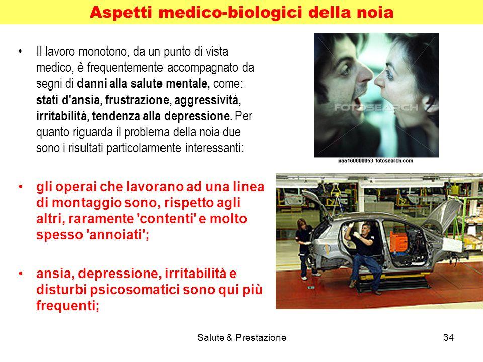 Salute & Prestazione34 II lavoro monotono, da un punto di vista medico, è frequentemente accompagnato da segni di danni alla salute mentale, come: stati d ansia, frustrazione, aggressività, irritabilità, tendenza alla depressione.
