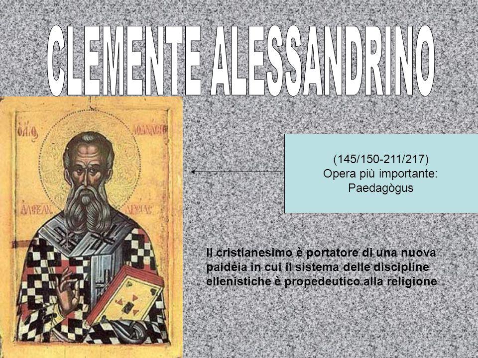 Origene (183/185/253/254) Opera più importante: Contro Celso Leducazione cristiana come ritorno delluomo a Dio e il mondo come didaskaléion.