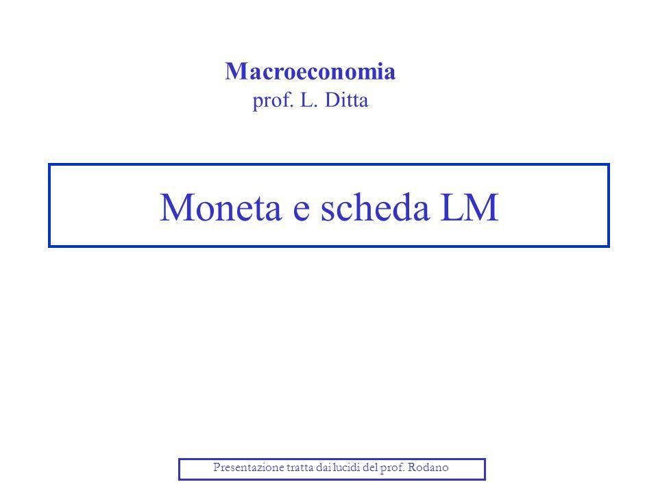 Moneta e scheda LM Macroeconomia prof. L. Ditta Presentazione tratta dai lucidi del prof. Rodano