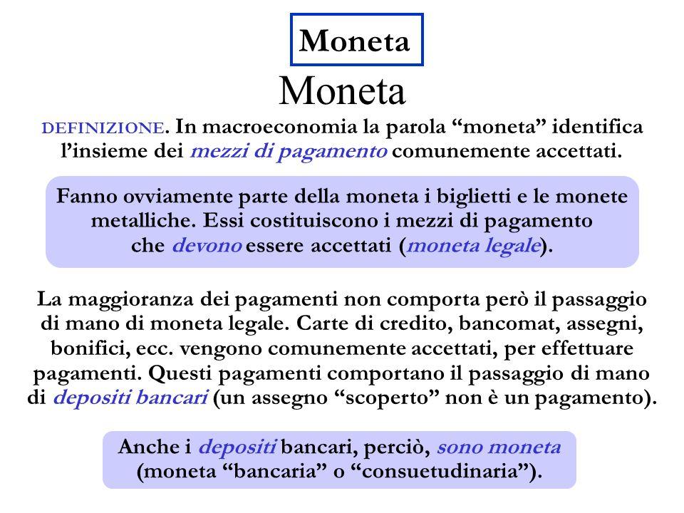 Moneta DEFINIZIONE. In macroeconomia la parola moneta identifica linsieme dei mezzi di pagamento comunemente accettati. La maggioranza dei pagamenti n