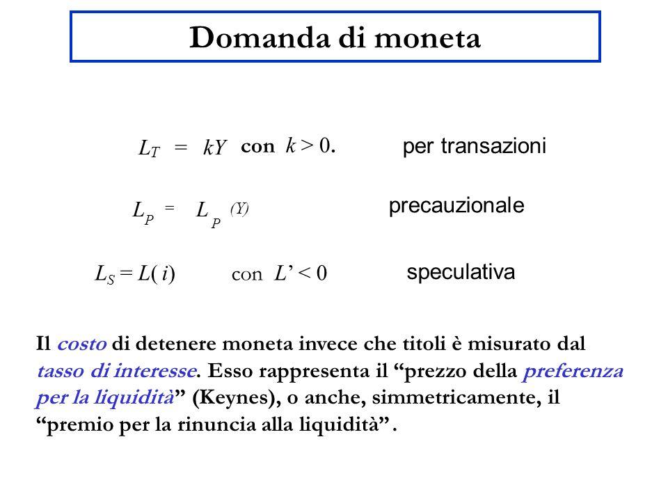 Domanda di moneta L T =kY con k > 0. L P = L P (Y) L S = L( i) con L < 0 per transazioni precauzionale speculativa Il costo di detenere moneta invece