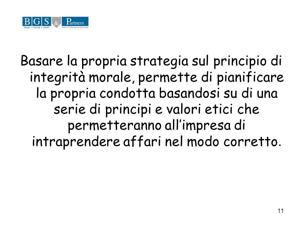 11 Basare la propria strategia sul principio di integrità morale, permette di pianificare la propria condotta basandosi su di una serie di principi e