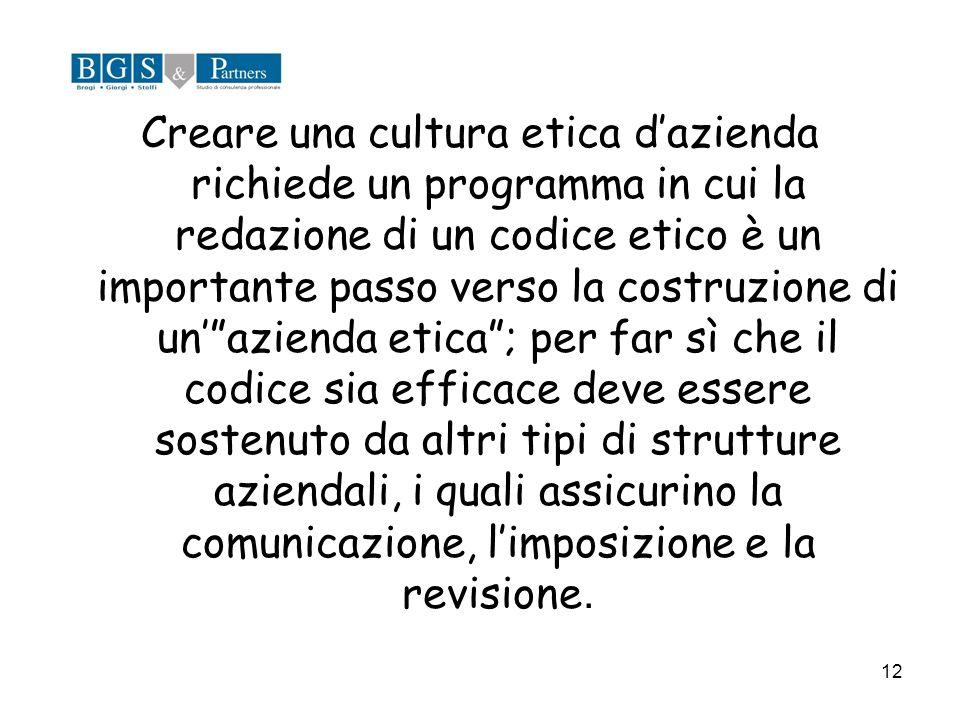 12 Creare una cultura etica dazienda richiede un programma in cui la redazione di un codice etico è un importante passo verso la costruzione di unazie