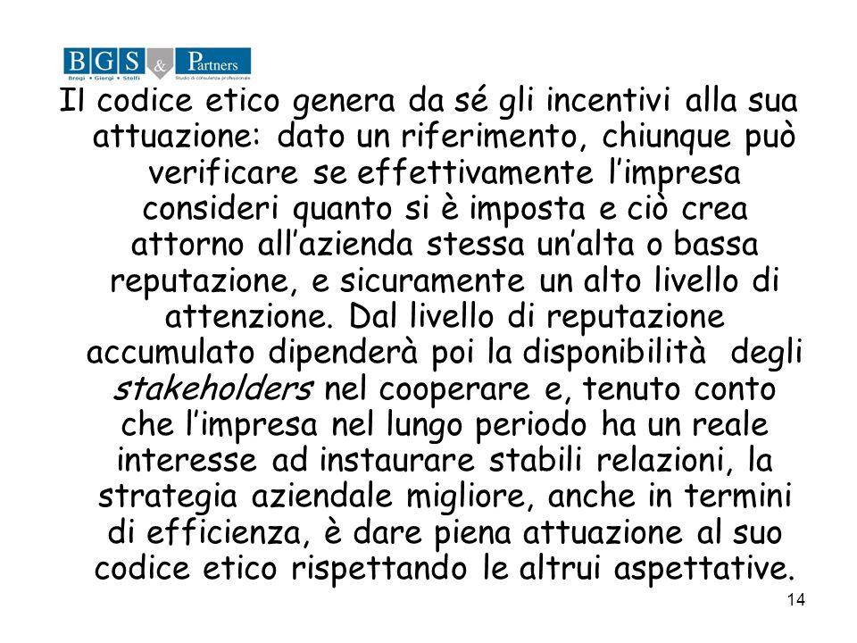 14 Il codice etico genera da sé gli incentivi alla sua attuazione: dato un riferimento, chiunque può verificare se effettivamente limpresa consideri q