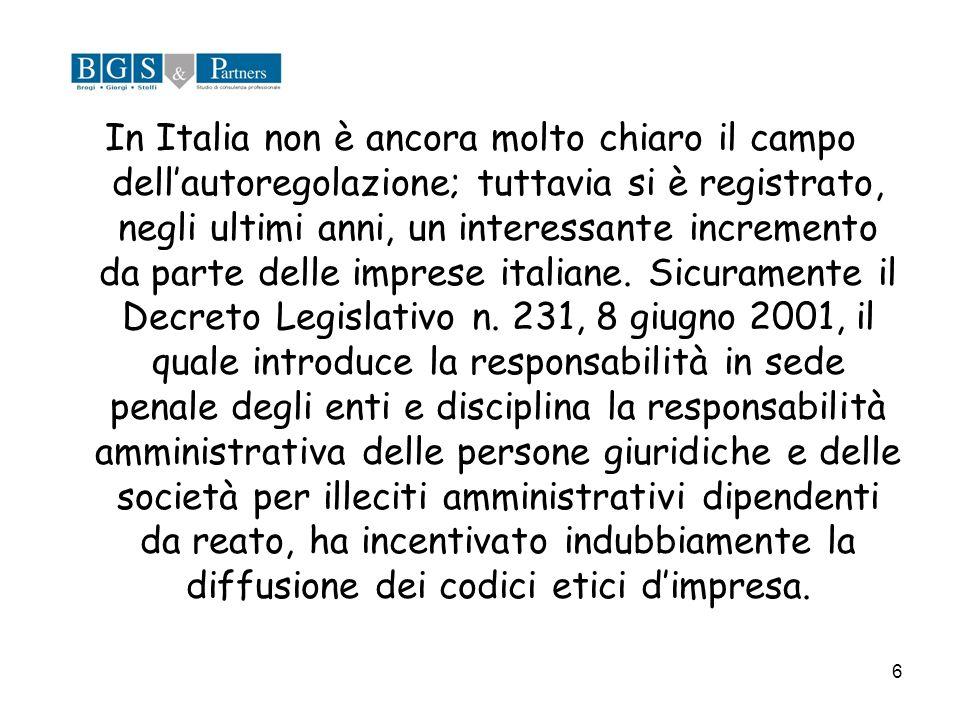 6 In Italia non è ancora molto chiaro il campo dellautoregolazione; tuttavia si è registrato, negli ultimi anni, un interessante incremento da parte d