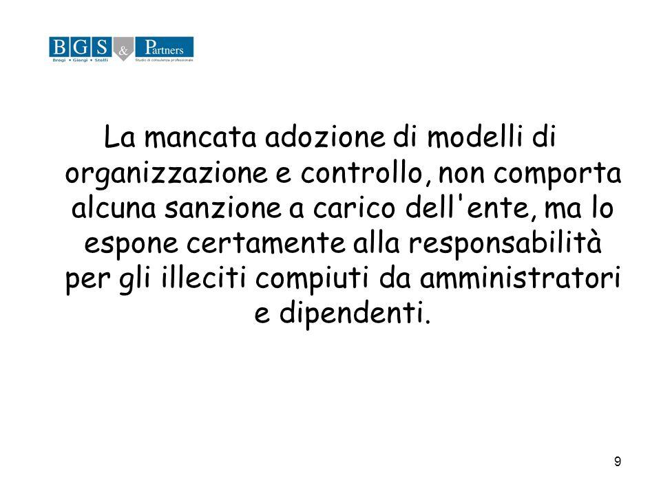 9 La mancata adozione di modelli di organizzazione e controllo, non comporta alcuna sanzione a carico dell'ente, ma lo espone certamente alla responsa
