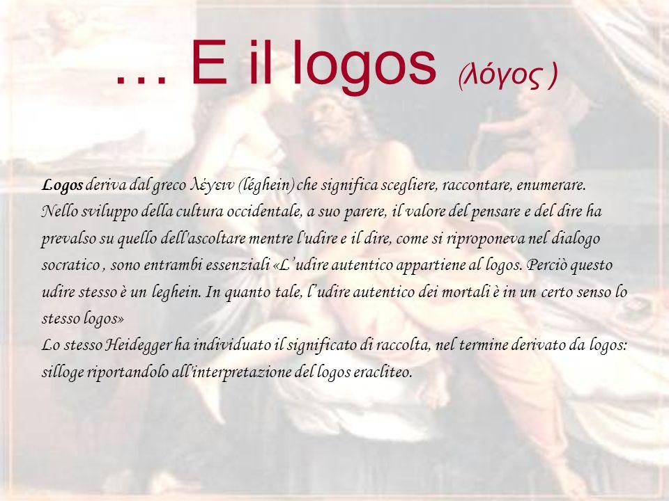 … E il logos ( λόγος ) Logos deriva dal greco λέγειν (léghein) che significa scegliere, raccontare, enumerare.