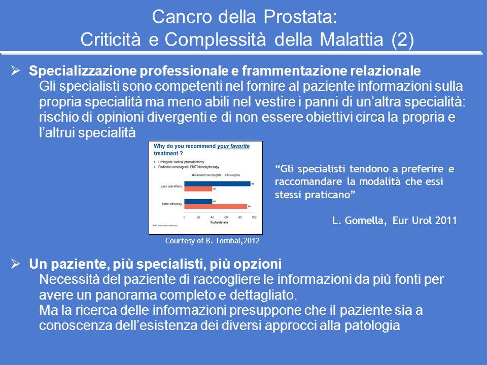 Specializzazione professionale e frammentazione relazionale Gli specialisti sono competenti nel fornire al paziente informazioni sulla propria special
