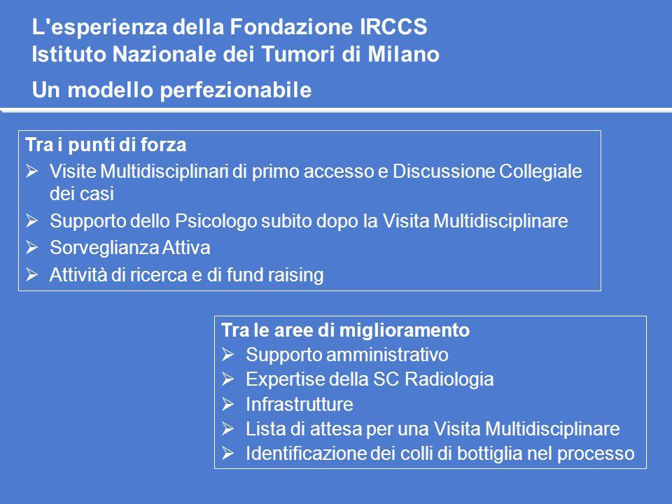 Tra i punti di forza Visite Multidisciplinari di primo accesso e Discussione Collegiale dei casi Supporto dello Psicologo subito dopo la Visita Multid