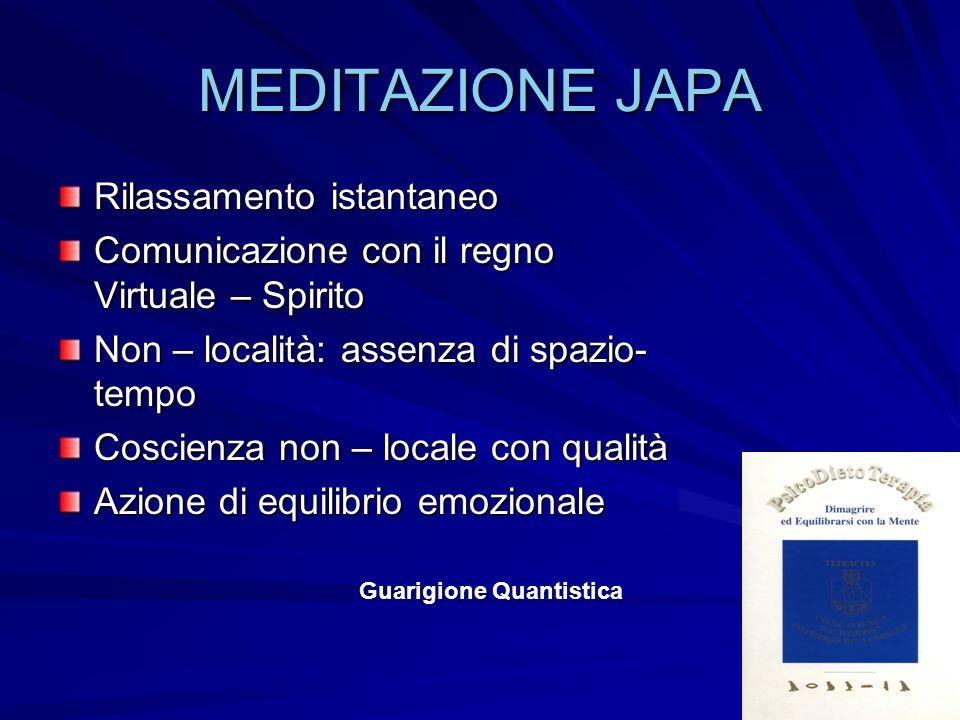 MEDITAZIONE JAPA Rilassamento istantaneo Comunicazione con il regno Virtuale – Spirito Non – località: assenza di spazio- tempo Coscienza non – locale