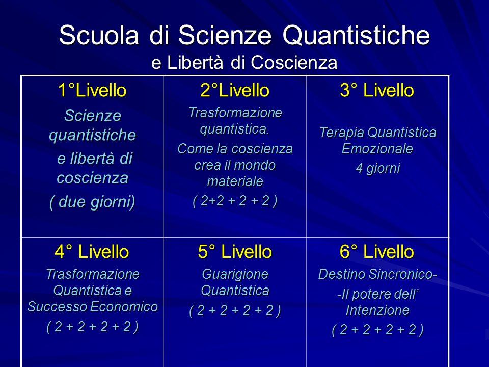 Scuola di Scienze Quantistiche e Libertà di Coscienza 1°Livello Scienze quantistiche e libertà di coscienza e libertà di coscienza ( due giorni) 2°Liv