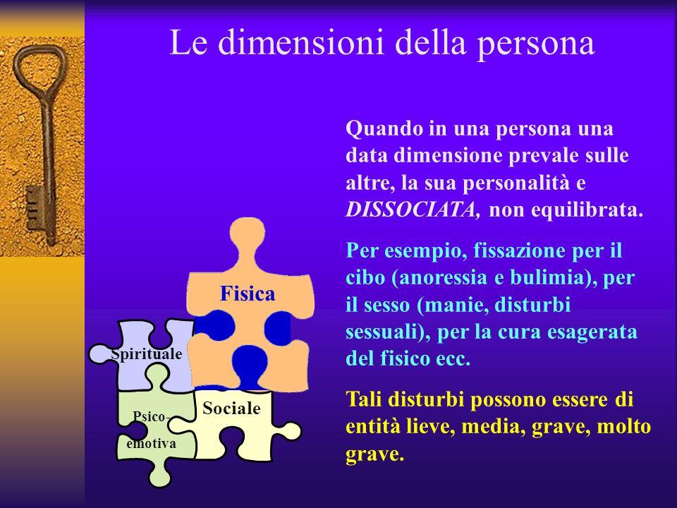 Le dimensioni della persona Fisica Psico-emotiva Spirituale Sociale BISOGNI PRIMARI: cibo, casa, vestiti, sesso … BISOGNI PSICOLOGICI E AFFETTIVI: di sicurezza, di stima, di affermazione … BISOGNO del trascendente, del soprannaturale, di attività artistiche… BISOGNO DI condivisione, gioco, comunicazione, interazione … In una persona equilibra tutte queste dimensioni hanno il loro spazio: la personalità è quindi INTEGRATA