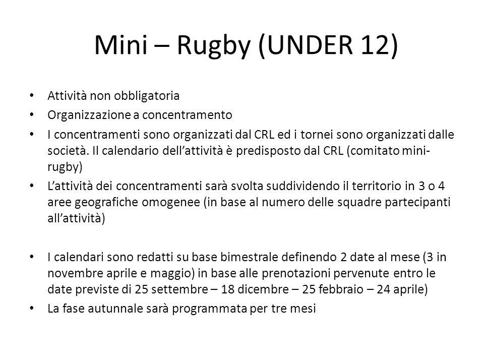 Mini – Rugby (UNDER 12) Attività non obbligatoria Organizzazione a concentramento I concentramenti sono organizzati dal CRL ed i tornei sono organizza