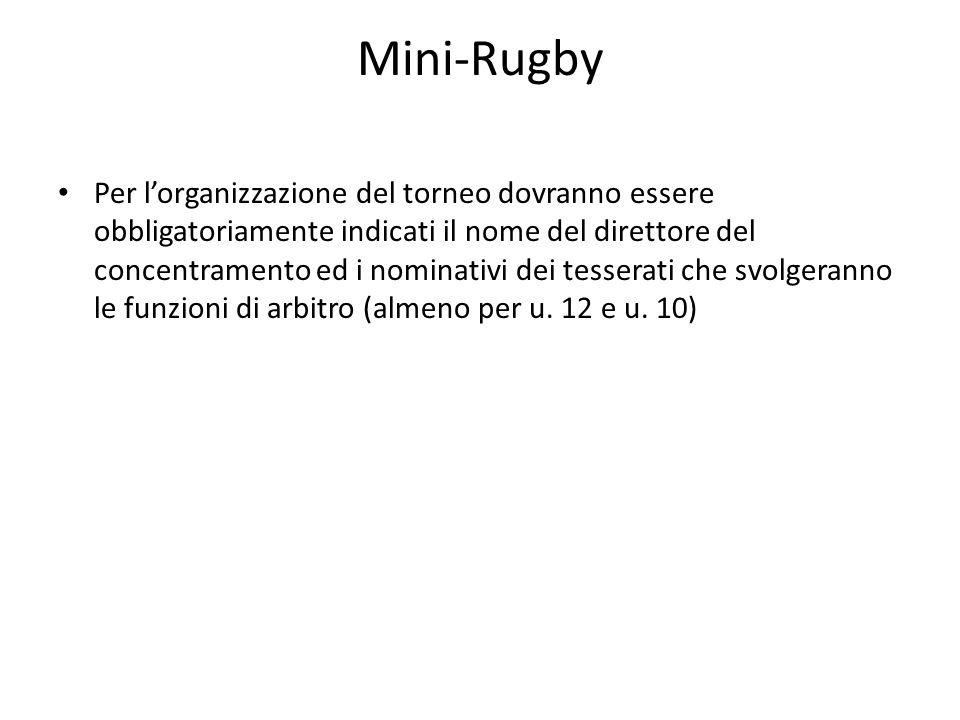 Mini-Rugby Per lorganizzazione del torneo dovranno essere obbligatoriamente indicati il nome del direttore del concentramento ed i nominativi dei tess
