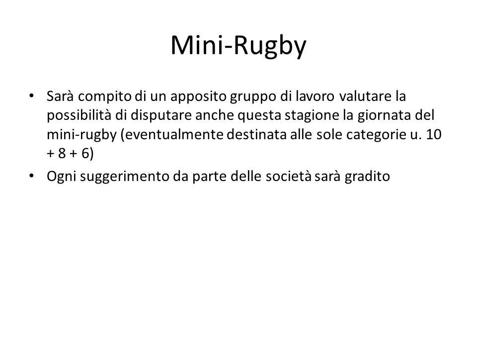 Mini-Rugby Sarà compito di un apposito gruppo di lavoro valutare la possibilità di disputare anche questa stagione la giornata del mini-rugby (eventua