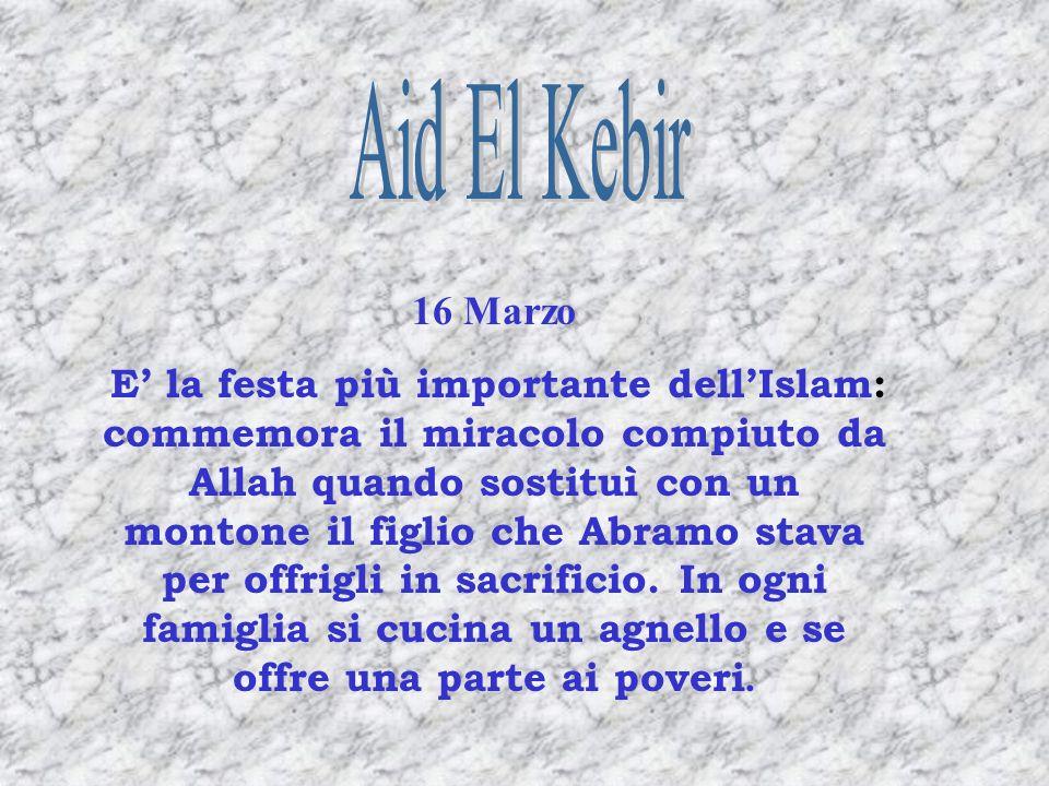 16 Marzo E la festa più importante dellIslam: commemora il miracolo compiuto da Allah quando sostituì con un montone il figlio che Abramo stava per of