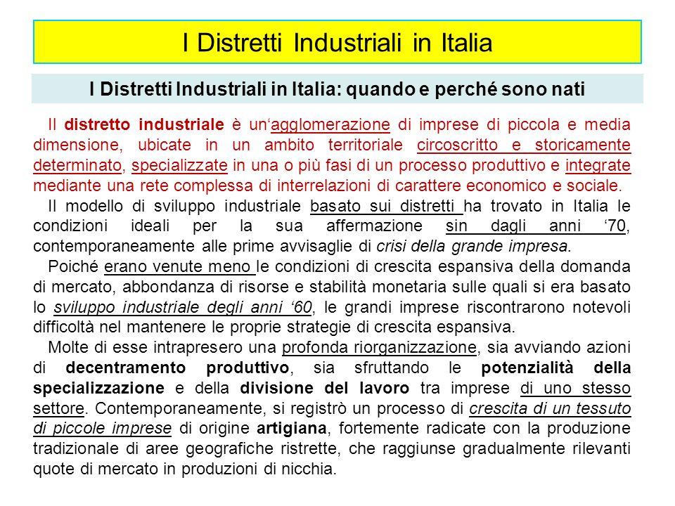 I Distretti Industriali in Italia I Distretti Industriali in Italia: quando e perché sono nati Il distretto industriale è unagglomerazione di imprese