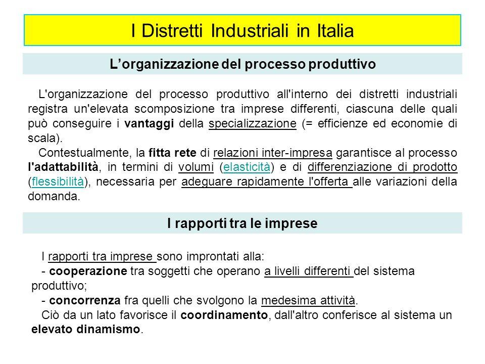 I Distretti Industriali in Italia Lorganizzazione del processo produttivo L'organizzazione del processo produttivo all'interno dei distretti industria