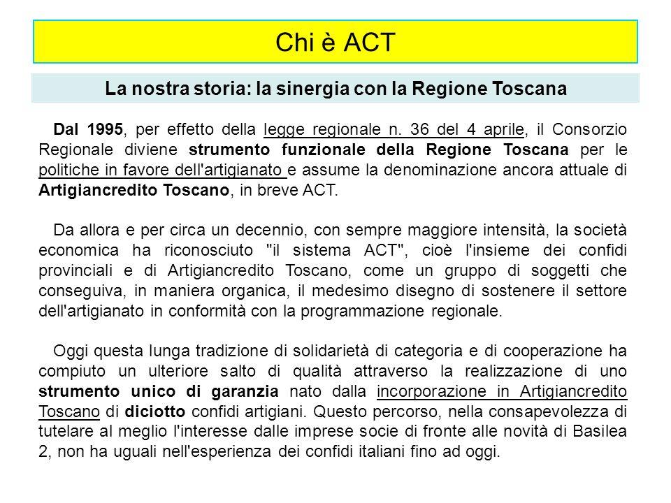 Chi è ACT La nostra storia: la sinergia con la Regione Toscana Dal 1995, per effetto della legge regionale n. 36 del 4 aprile, il Consorzio Regionale