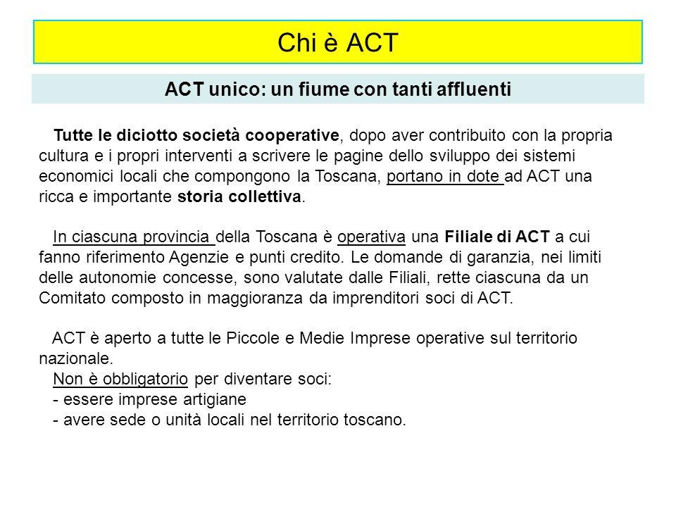 Chi è ACT ACT unico: un fiume con tanti affluenti Tutte le diciotto società cooperative, dopo aver contribuito con la propria cultura e i propri inter