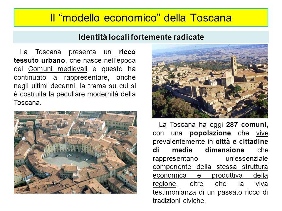 Il modello economico della Toscana Identità locali fortemente radicate La Toscana ha oggi 287 comuni, con una popolazione che vive prevalentemente in
