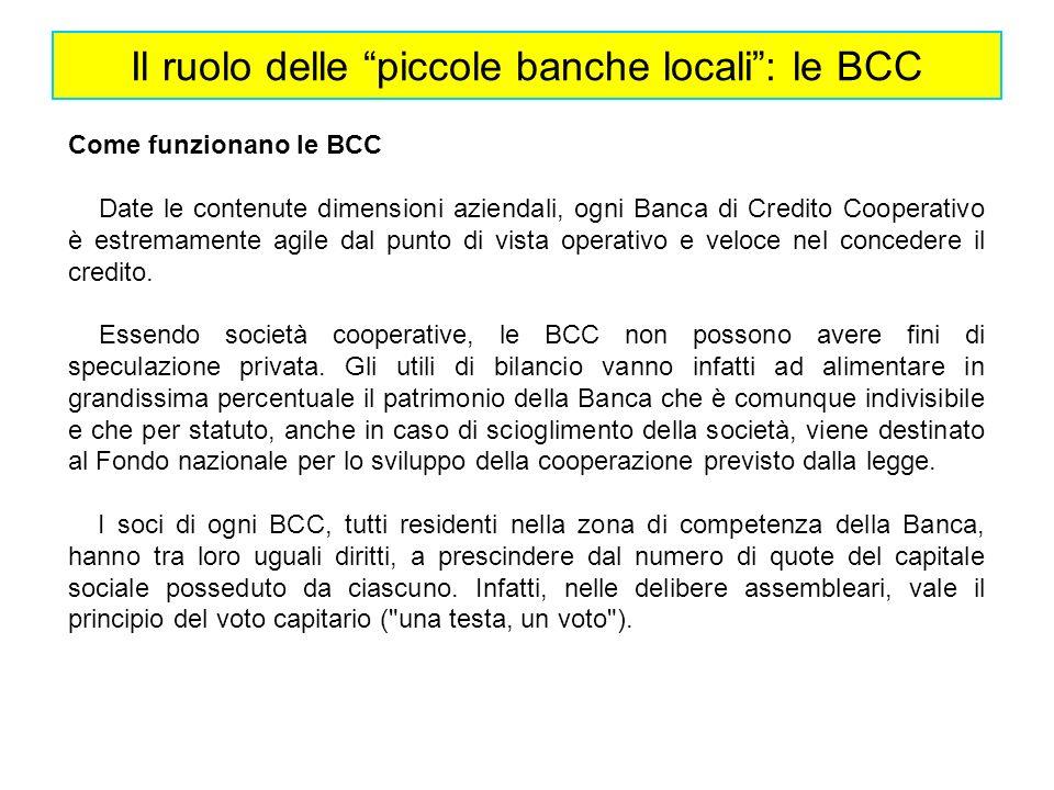 Il ruolo delle piccole banche locali: le BCC Come funzionano le BCC Date le contenute dimensioni aziendali, ogni Banca di Credito Cooperativo è estrem